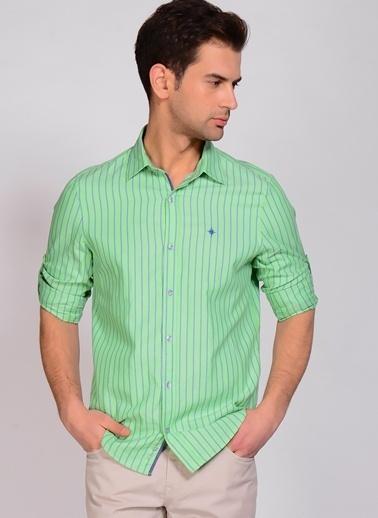 North Of Navy Çizgili Gömlek Yeşil